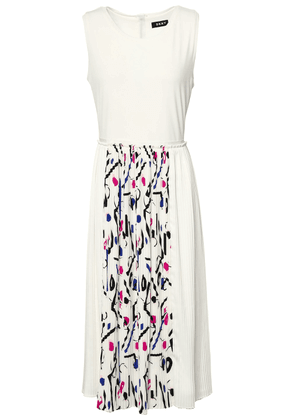 Dkny Pleated Printed Crepe De Chine And Cady Midi Dress Woman Ivory Size XS