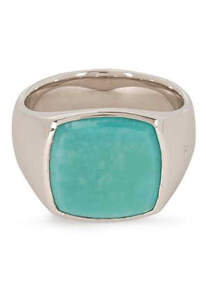 Cushion Turquoise Sterling-Silver Signet Ring