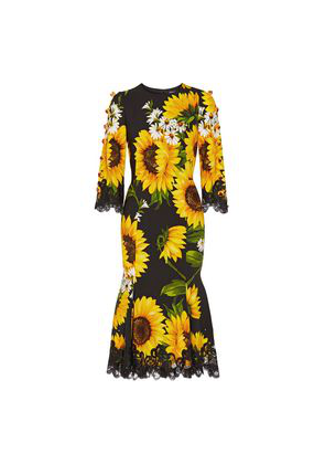 Dolce & Gabbana Embellished Lace-trimmed Printed Cady Midi Dress Woman Yellow Size 40
