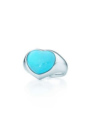 Elsa Peretti® Cabochon heart ring in sterling silver with turquoise - Size 5