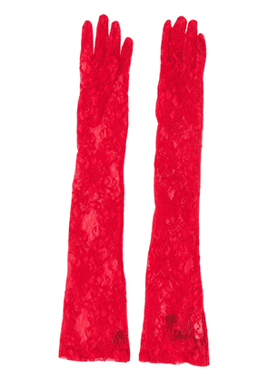 Gucci floral tulle gloves - Red