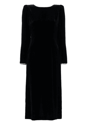 Gucci crystal embellished open back silk blend velvet dress - Black