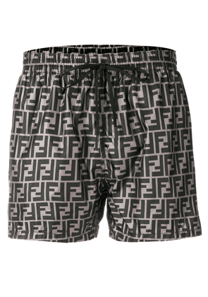 Fendi logo print swim shorts - Grey