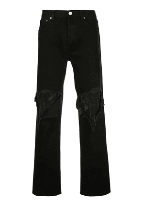Black Men's Distressed Bootcut Jeans