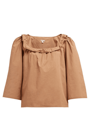 Belize - Mallory Ruffle-trimmed Cotton Top - Womens - Brown