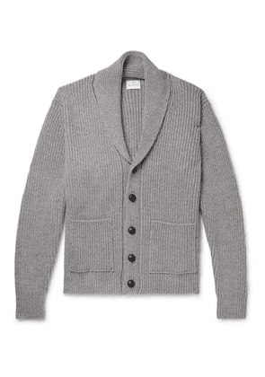 Kingsman - Shawl-collar Ribbed Wool And Cashmere-blend Cardigan - Gray
