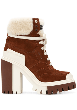 Dolce & Gabbana high-heeled trekking boots - Brown