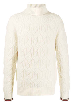 Tommy Hilfiger monogram roll neck jumper - White
