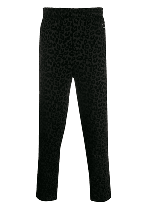 Fred Perry x Miles Kane leopard-flocked sweatpants - Black