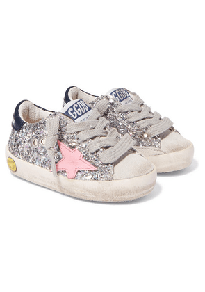 Golden Goose Kids - Size 19 - 27 Superstar Distressed Glittered Leather And Suede Sneakers