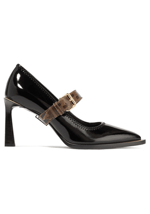 Fendi - Logo-print Coated Canvas And Patent-leather Mary Jane Pumps - Black