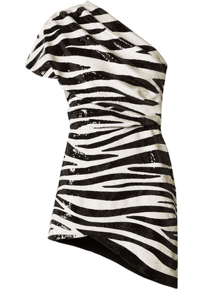 SAINT LAURENT - One-shoulder Asymmetric Sequined Crepe Mini Dress - Zebra print
