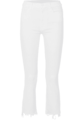 Mother - The Insider Crop Distressed High-rise Flared Jeans - White