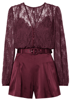 Jonathan Simkhai - Belted Satin And Stretch-silk Lace Playsuit - Burgundy