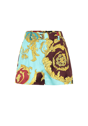 High-rise baroque printed shorts