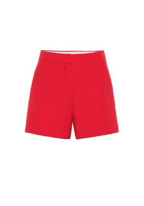 High-rise wool and silk shorts