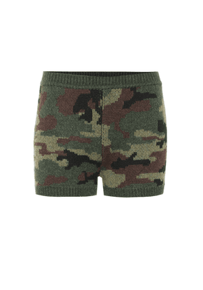 Camouflage wool shorts