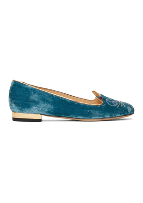 Charlotte Olympia Blue Velvet Peaceful Kitty Loafers