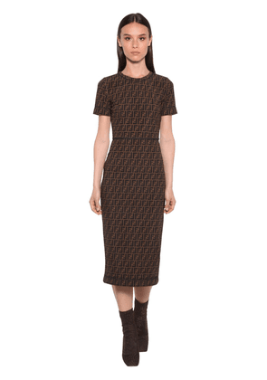 All Over Logo Intarsia Midi Dress