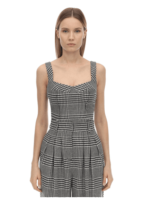 Checked Wool Blend Top