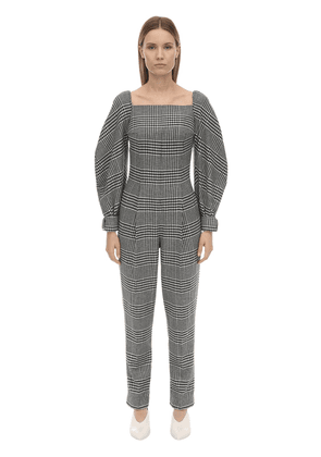 Checked Wool Blend Jumpsuit