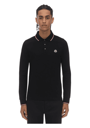 Logo Patch Cotton Polo Pique Ls Shirt