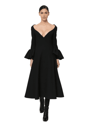 Wool Crepe Midi Dress W/ruffled Cuffs