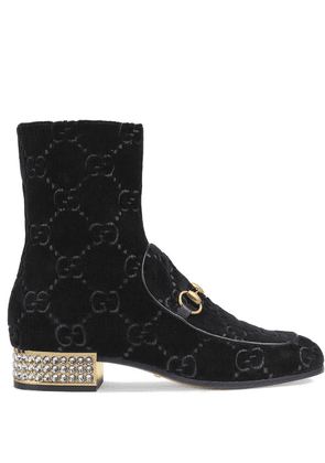 Gucci Horsebit GG velvet boots with crystals - Black