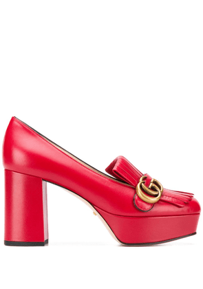 Gucci monogram fringed pumps - Red