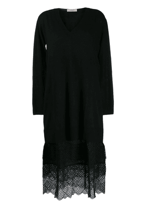 Twin-Set lace panel dress - Black