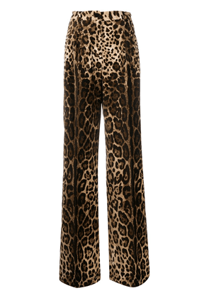 Dolce & Gabbana leopard patterned palazzo trousers - NEUTRALS