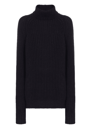 Esteban Cortazar open-back ribbed turtleneck jumper - Blue