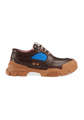 Leather and nylon lace-up shoe