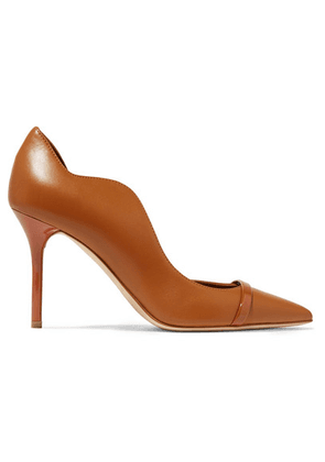 Malone Souliers - Morrissey 85 Patent-trimmed Leather Pumps - Brown