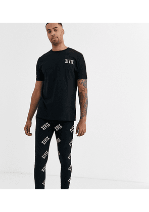 ASOS DESIGN Tall lounge megging and tshirt pyjama set in monochrome with roman numerals print-Black