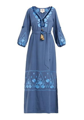 Figue - Lola Floral-embroidered Silk-crepe Dress - Womens - Blue Print
