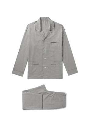 Anderson & Sheppard - Prince Of Wales Checked Brushed-cotton Pyjama Set - Gray