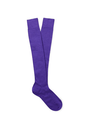 Charvet - Ribbed Cashmere, Wool And Silk-blend Over-the-calf Socks - Purple