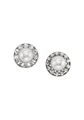 Gucci Interlocking G pearl and crystal earrings - Silver