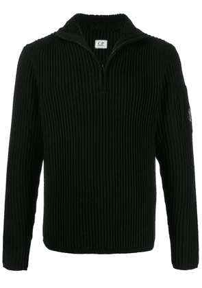 CP Company ribbed knit zipped sweater - Black