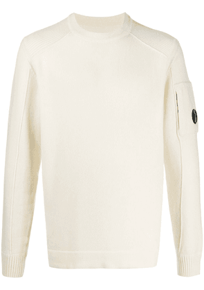CP Company ribbed detail crew neck sweater - NEUTRALS