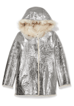 Yves Salomon Kids - Ages 8 - 10 Reversible Hooded Metallic Crinkled-leather And Shearling Coat
