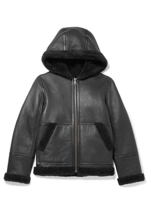 Yves Salomon Kids - Ages 8-10 Hooded Shearling Jacket - Black