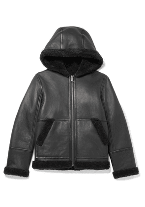 Yves Salomon Kids - Age 12 Hooded Shearling Jacket - Black
