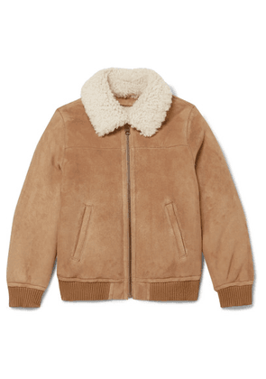 Yves Salomon Kids - Ages 8-10 Shearling-trimmed Suede Bomber Jacket - Brown