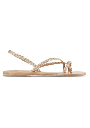 Ancient Greek Sandals - Yianna Braided Metallic Leather Sandals - Gold