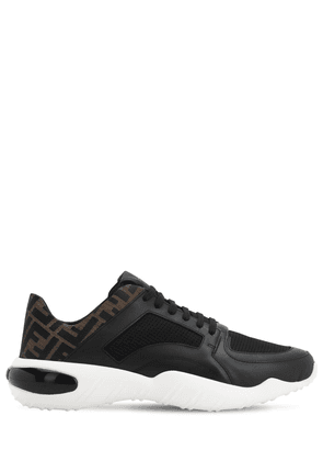 Fancy Fendi Logo Leather & Mesh Sneakers
