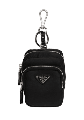 Logo Nylon Key Holder W/ Leather Details