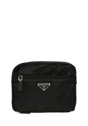 Nylon Travel Pouch W/ Leather Details