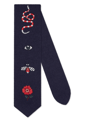 Gucci Embroidered wool tie - Blue